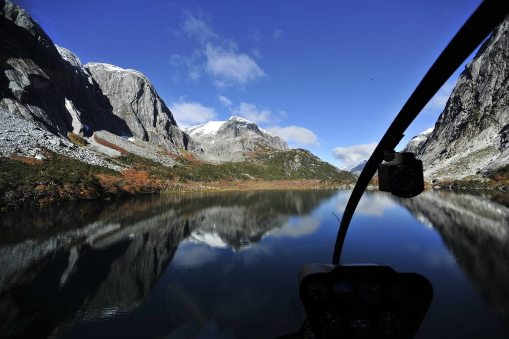Helicopter View of Mountains and Water Helicopter Experience at Barraco Lodge Patagonia
