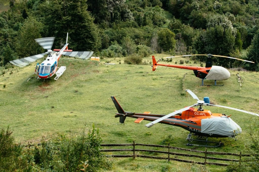 Helicopters at Barraco Lodge Patagonia