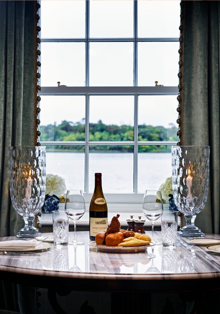 Meal by the window at Hideaway Cottage
