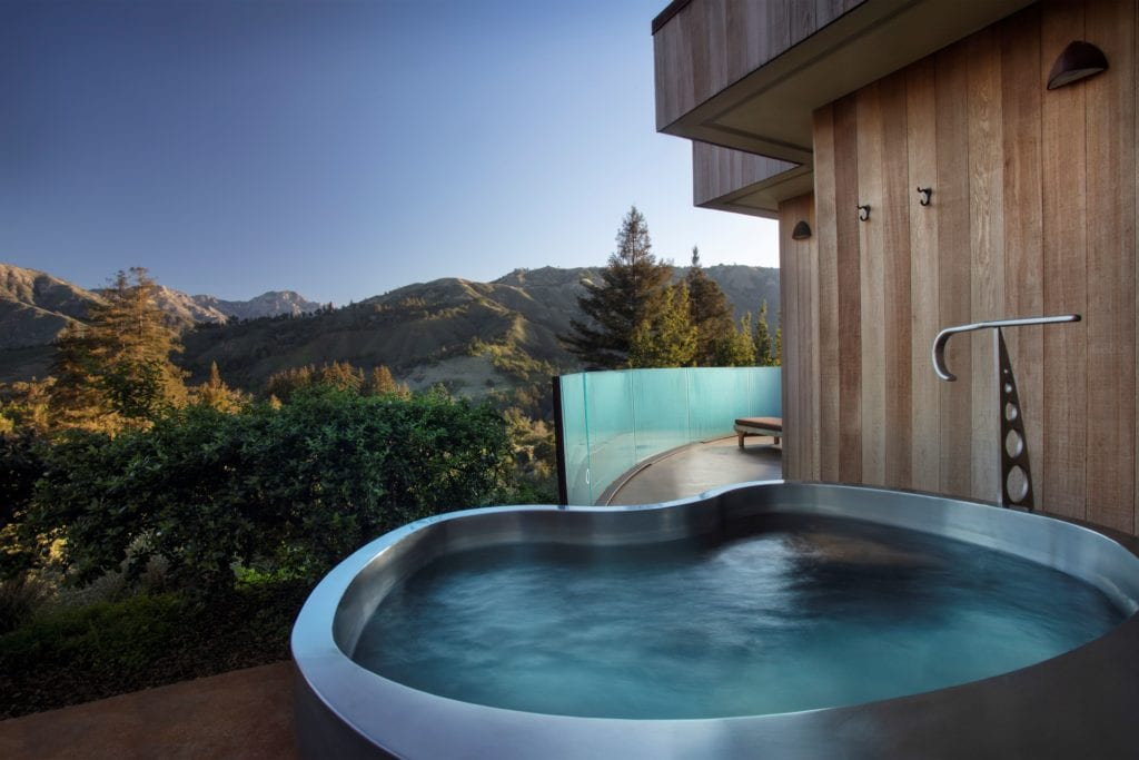 Hot Tub and Mountain View Exterior Post Ranch Inn America