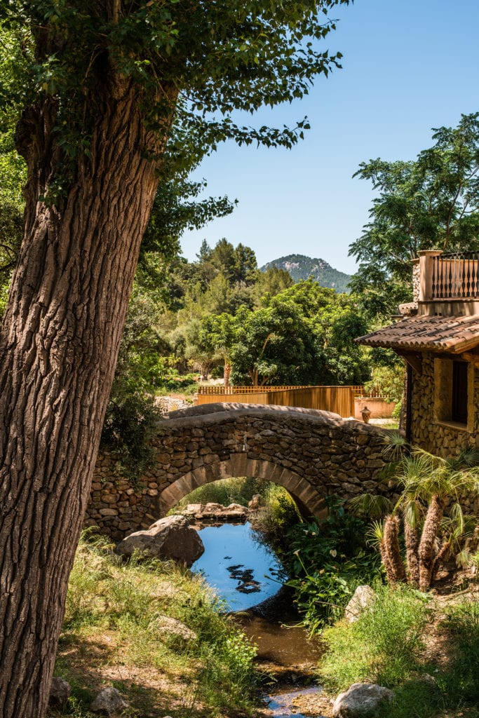Grounds and River with Bridge at LJs Ratxo Resort Mallorca Spain