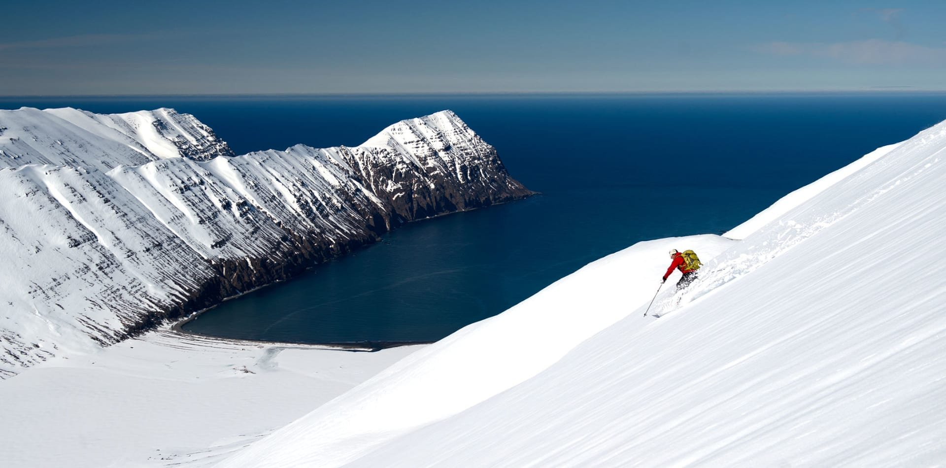 Skiing by the coast in Iceland