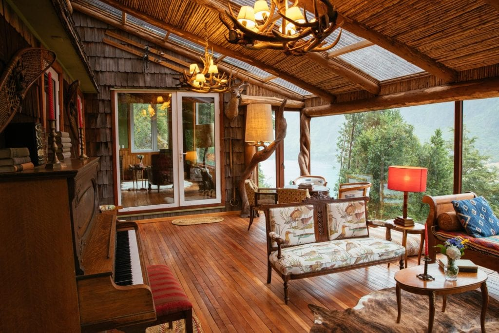 Interior of Panoramic Lounge Area at Barraco Lodge Patagonia