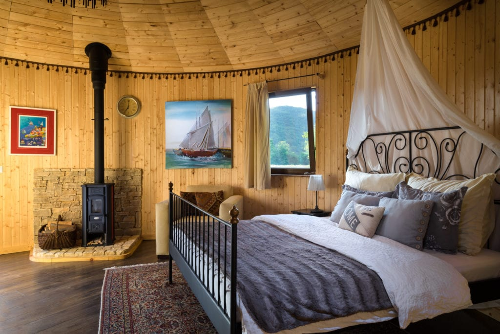 Interior of Yurt Style Accommodation at Linden Tree Retreat and Ranch in Croatia