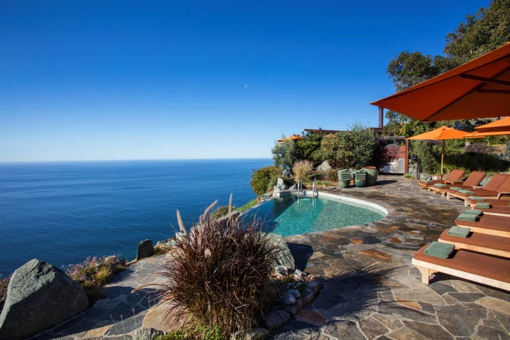 Jade Infinity Pool Exterior Post Ranch Inn with Sunloungers America