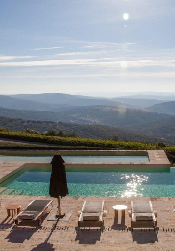 Swimming pool area in La Nava, Spain