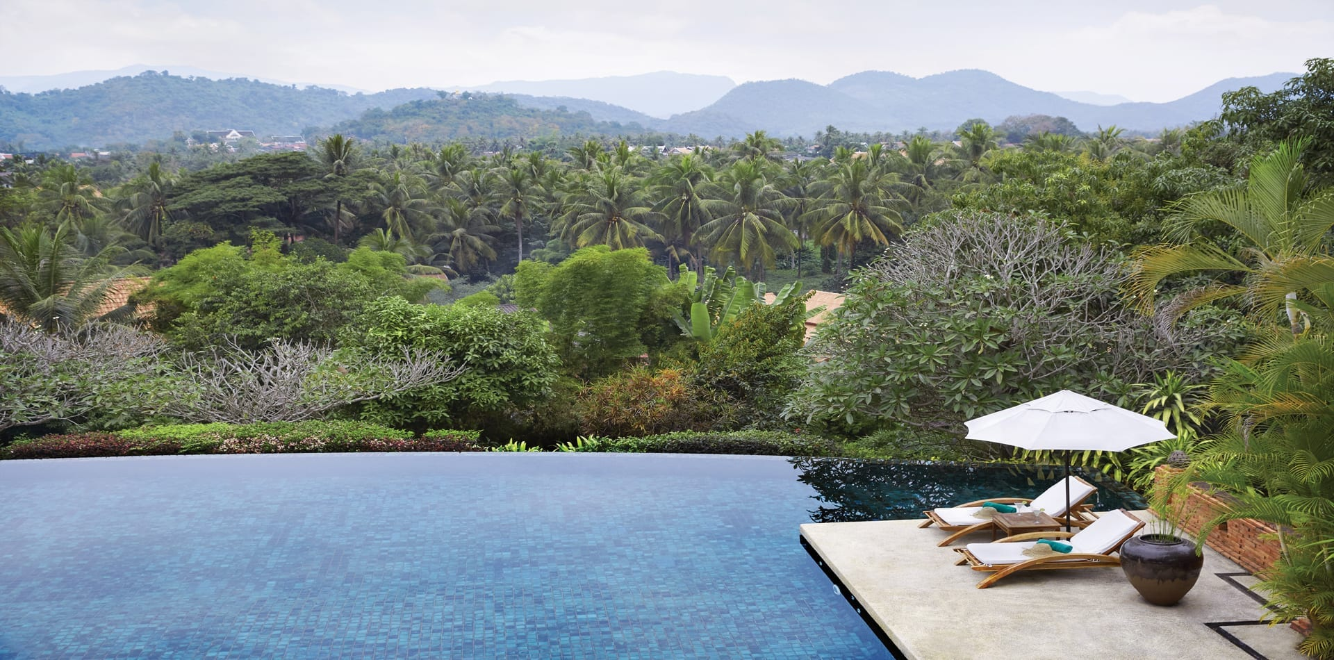 La Residence Phou Vao Belmond Swimming Infinity Pool with Loungers Laos