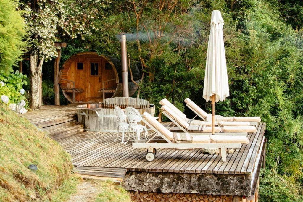 Loungers and Decking Area at Barraco Lodge Patagonia