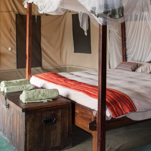 Lulimbi tented camp bed interior