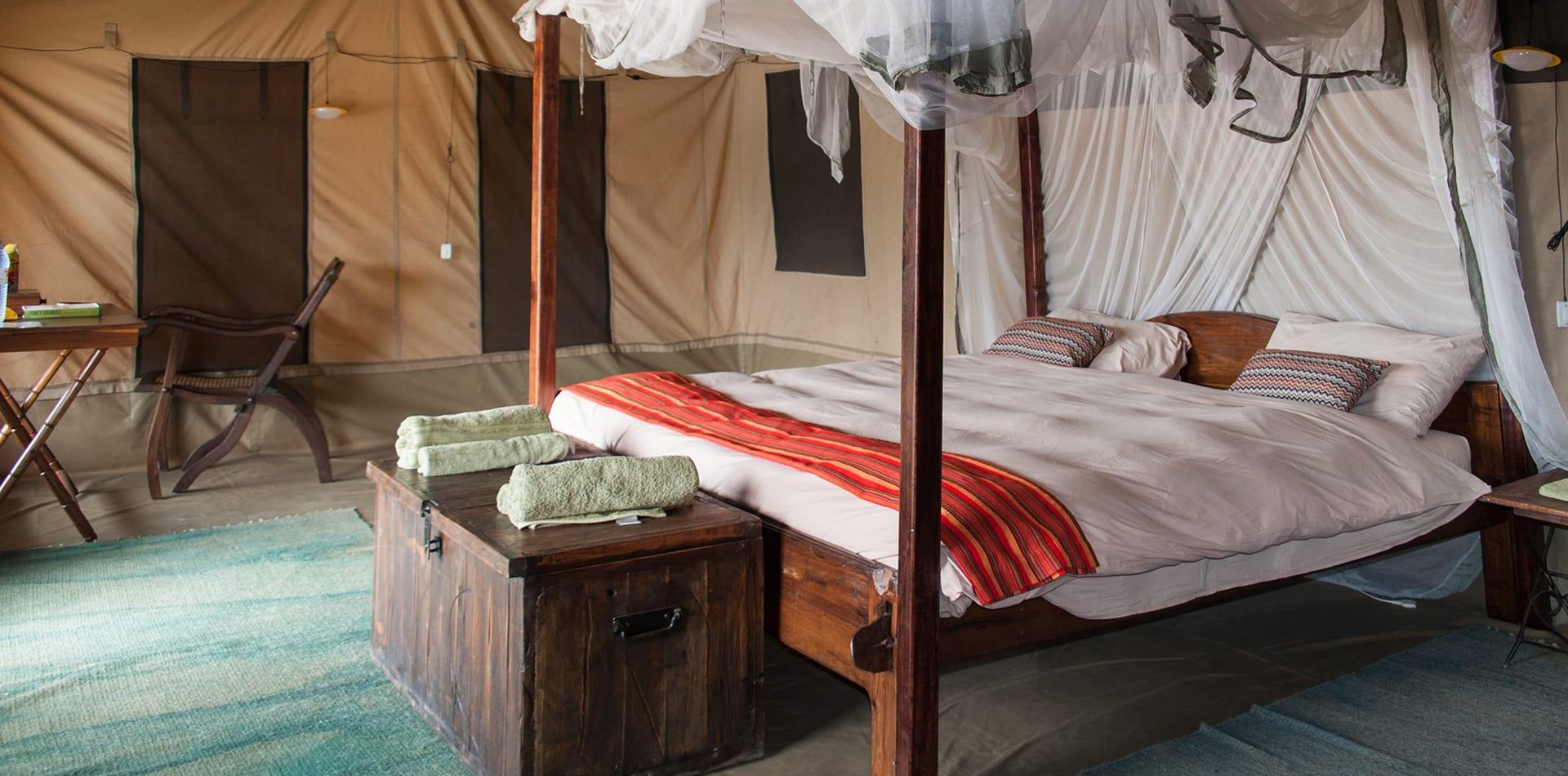 Lulimbi tented camp bed interior