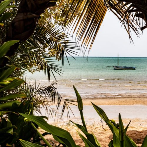 Boat by the beach in Mozambique