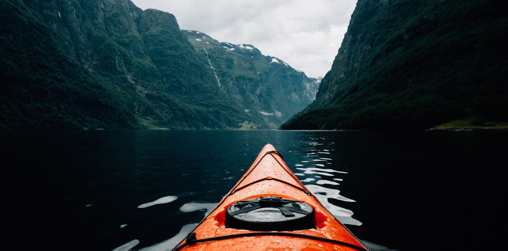 Kayaking in a fjord in Norway
