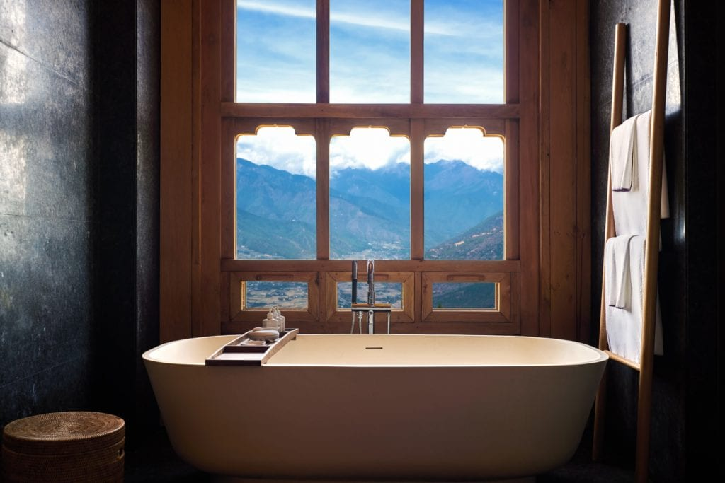 Bhutan Six Senses Paro Bath View