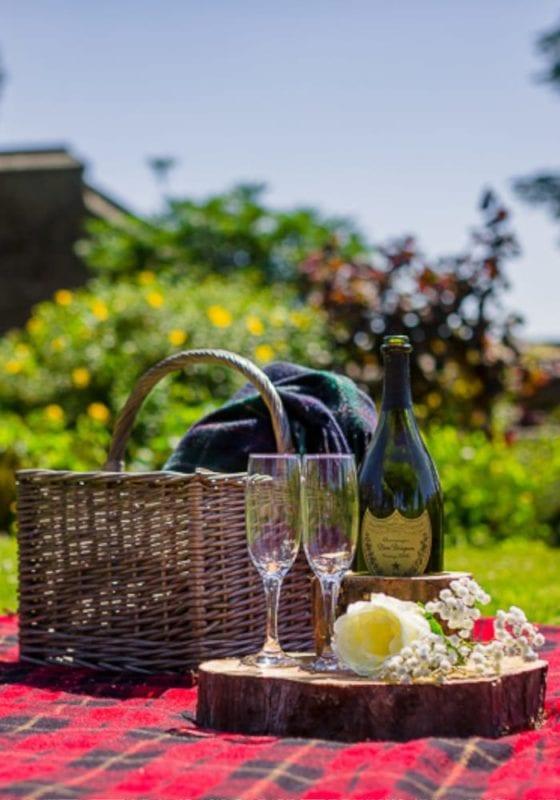Champagne picnic at Simonstone Hall