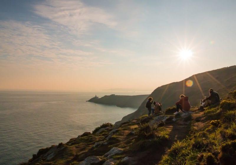 Family picnic by the Irish coast