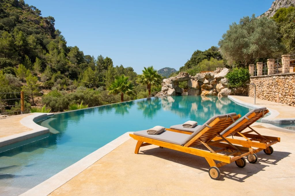 Poolside View with Sunlounger at LJs Ratxo Resort Mallorca Spain