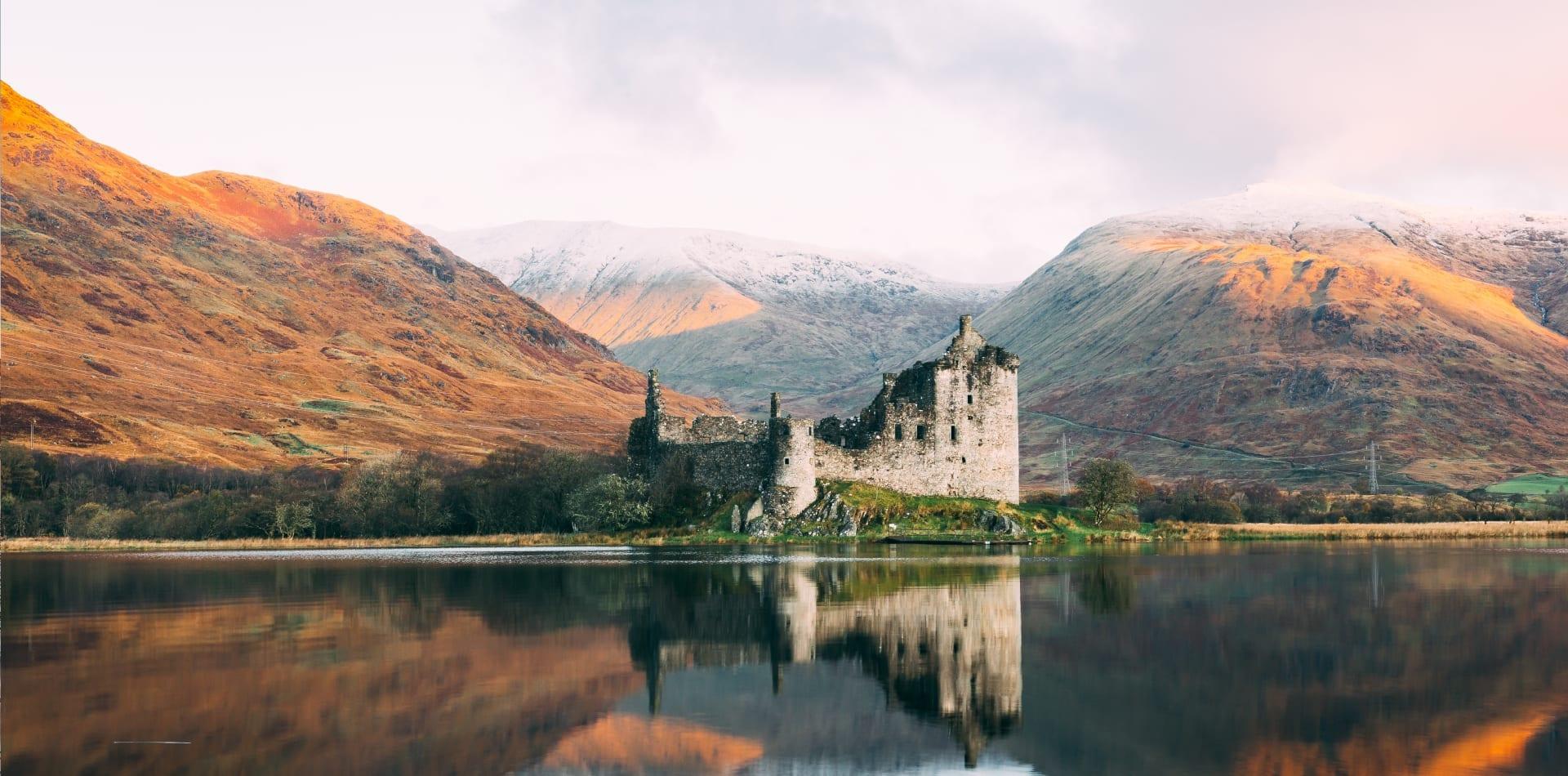 Castle in a loch in Scotland