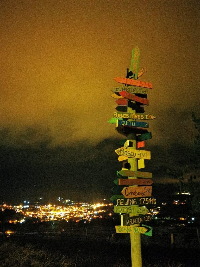 Signposts at El Pueblito Boutiue Hotel Bolivia