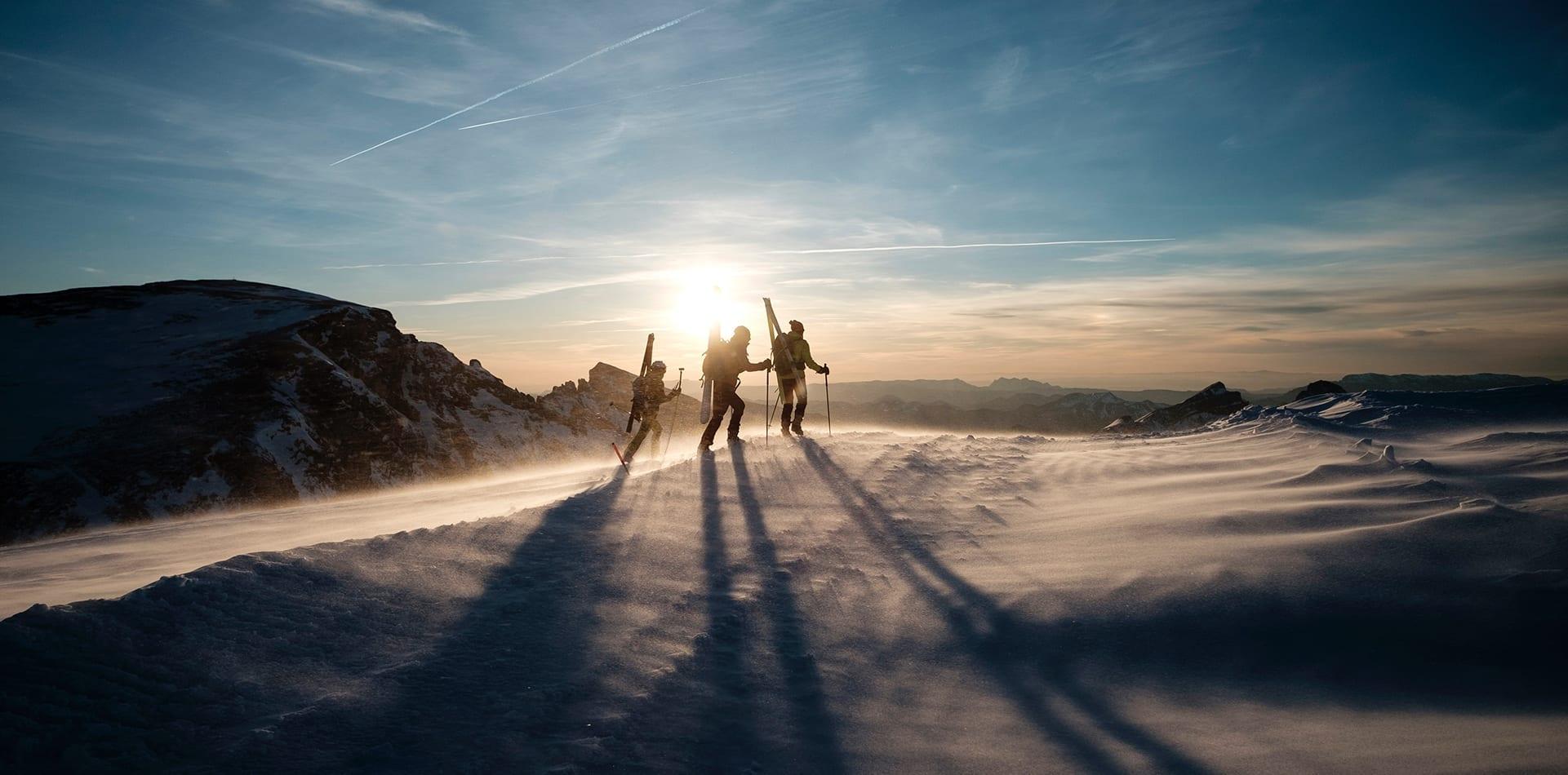 three people trekking