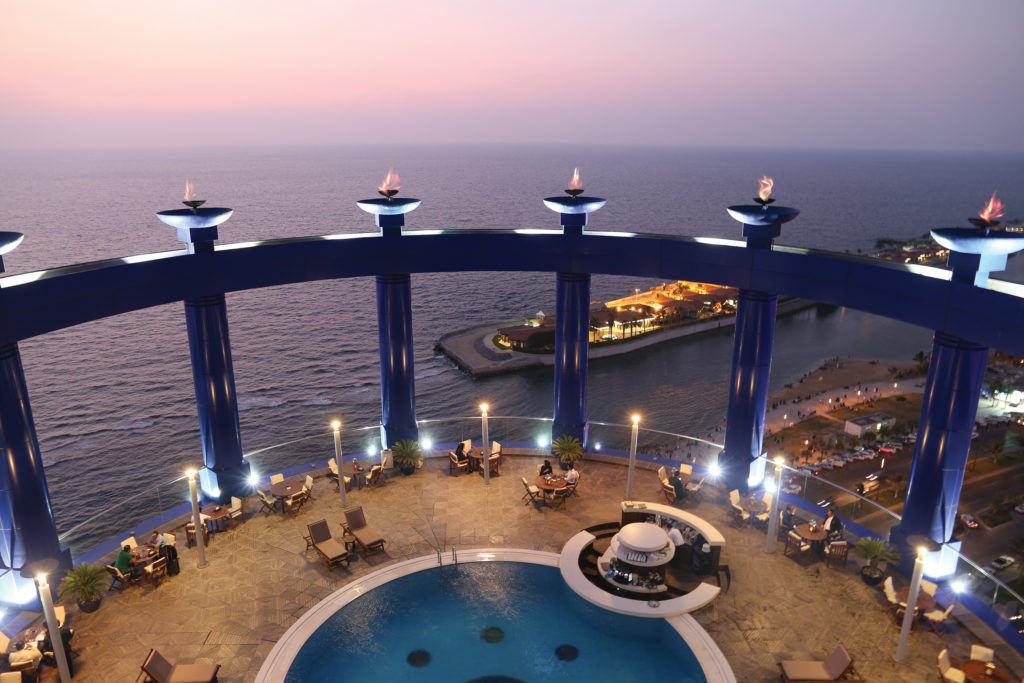 Sky Lounge and Rood top Pool at Dusk Rosewood Jeddah Saudi Arabia