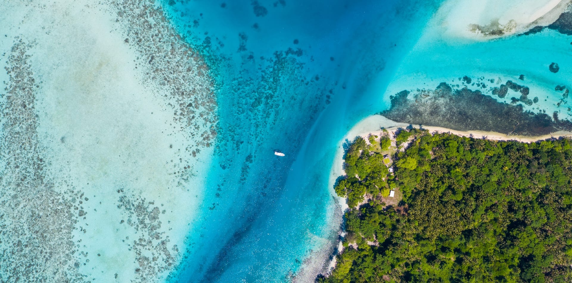 Aerial view of the coast in the Solomon Islands
