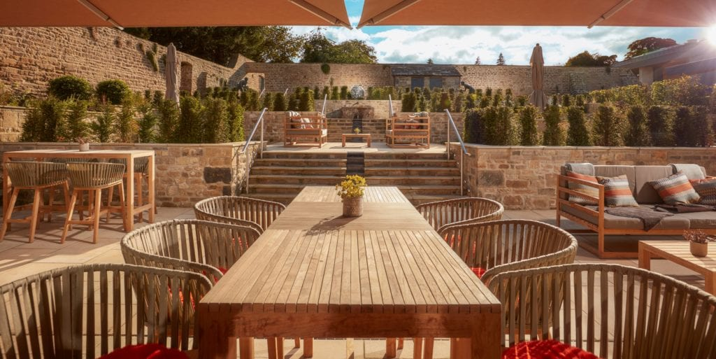 Outdoor Dining Area Terrace at Swinton Estate Yorkshire England