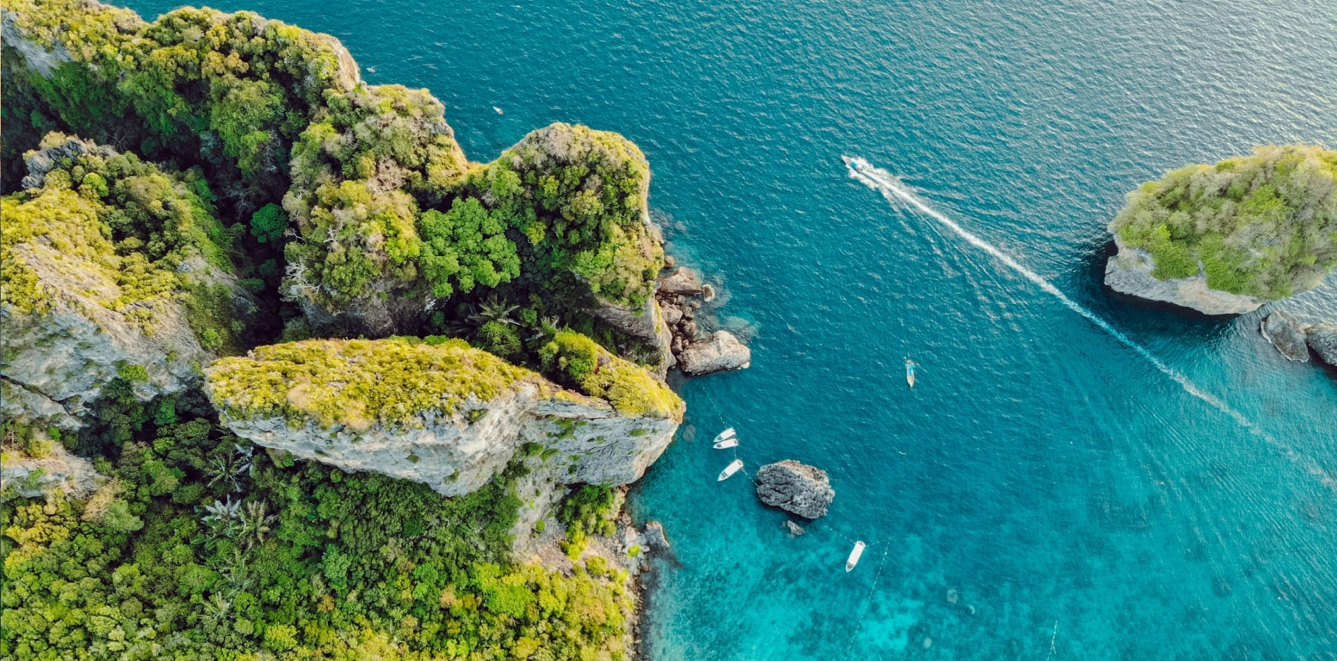 Aerial view of the Thailand coastline