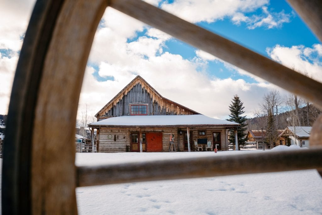 The Ranch at Rock Creek Historic Barn Exterior in Winter America
