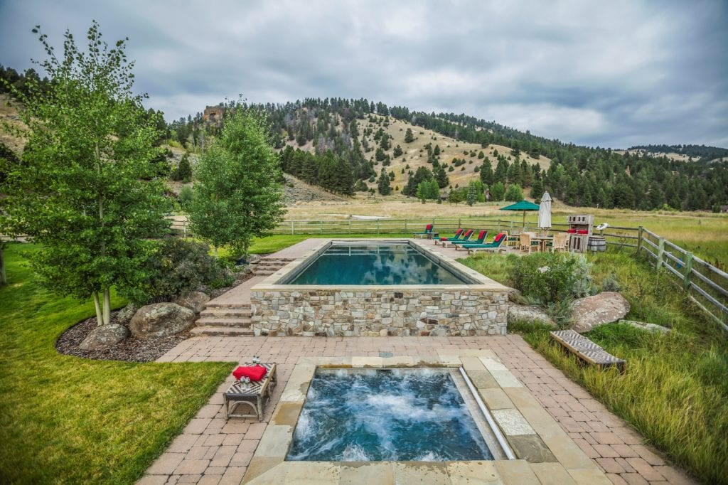 Outdoor Pool and Hot Tub with Mountain View Outdoor The Ranch at Rock Creek America