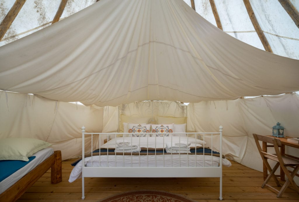 Tipi Bedroom Interior at Linden Tree Retreat and Ranch in Croatia