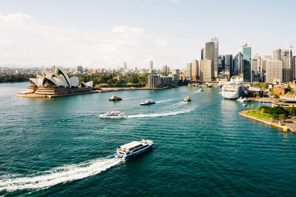 Aerial View of Sydney Harbour from the Water Australia
