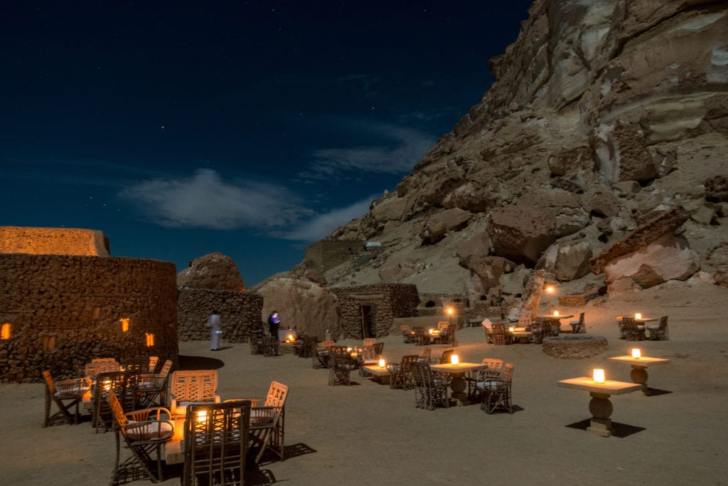 outdoor night time dining Adrere Amellal