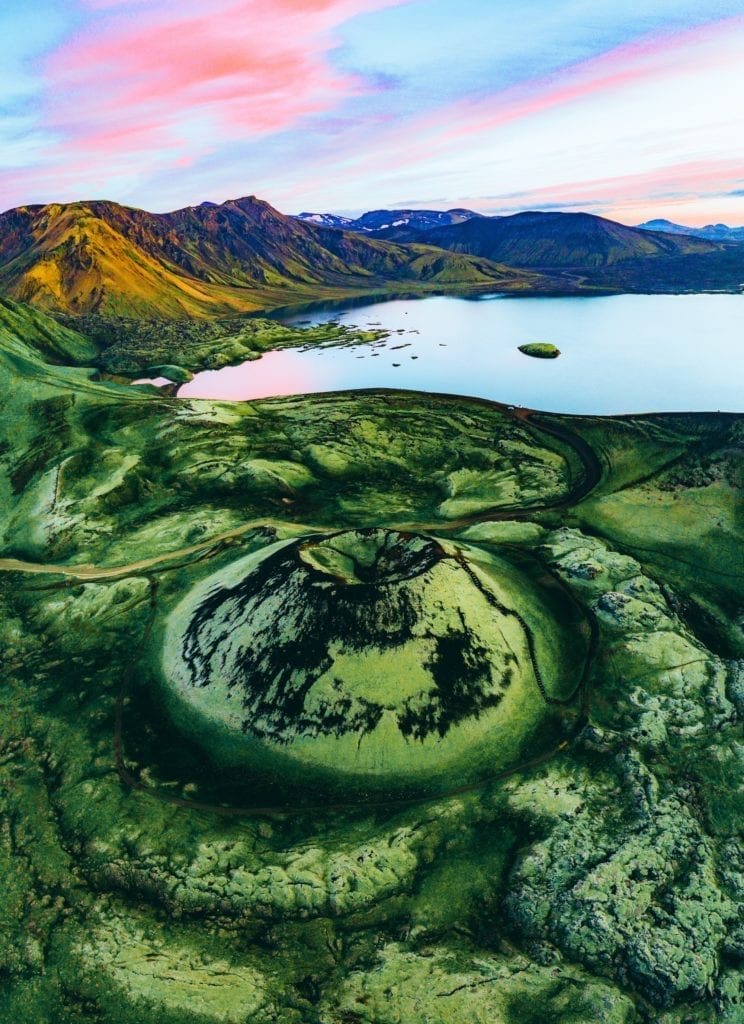 Aerial View of Volcano in the Sunset, IcelandAerial View of Volcano in the Sunset, Iceland