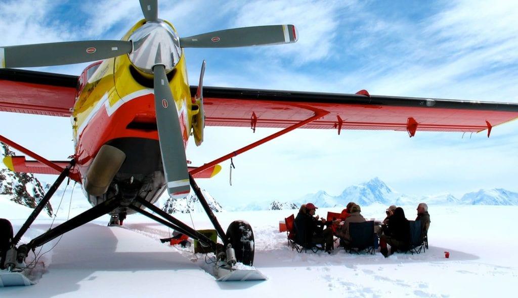 Alaska Ultima Thule Lodge Winter plane and picnic
