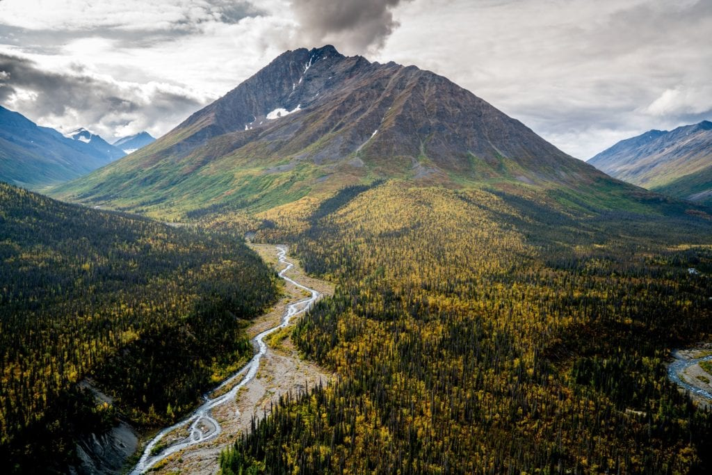 Mountains surrounding Ultima Thule Lodge in Alaska