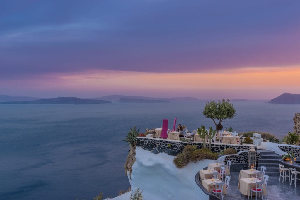 Andronis Luxury Suites Lycabettus Restaurant sunset veiew