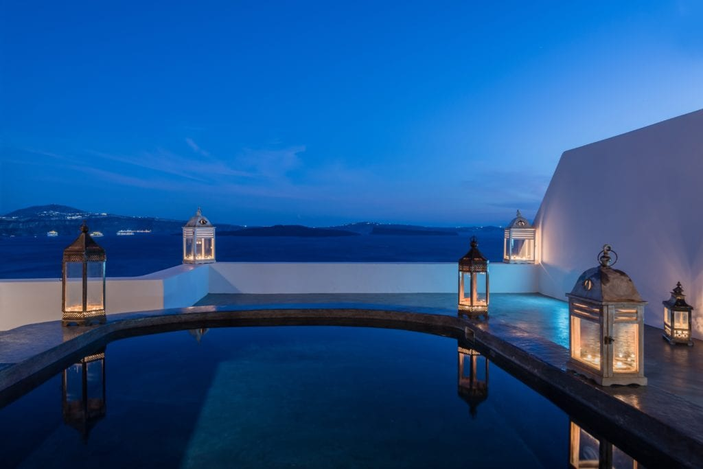 Andronis Luxury Suites private pool evening view