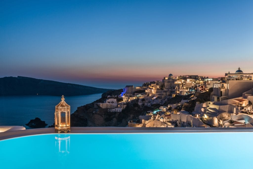 Andronis Luxury Suites sunset town view