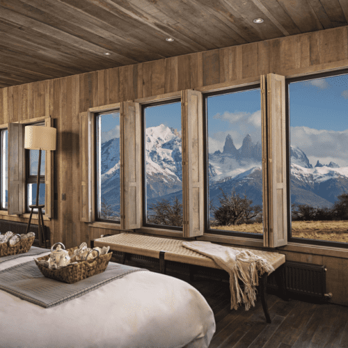 Bedroom views overlooking the iconic peaks of Torres del Paine National Park