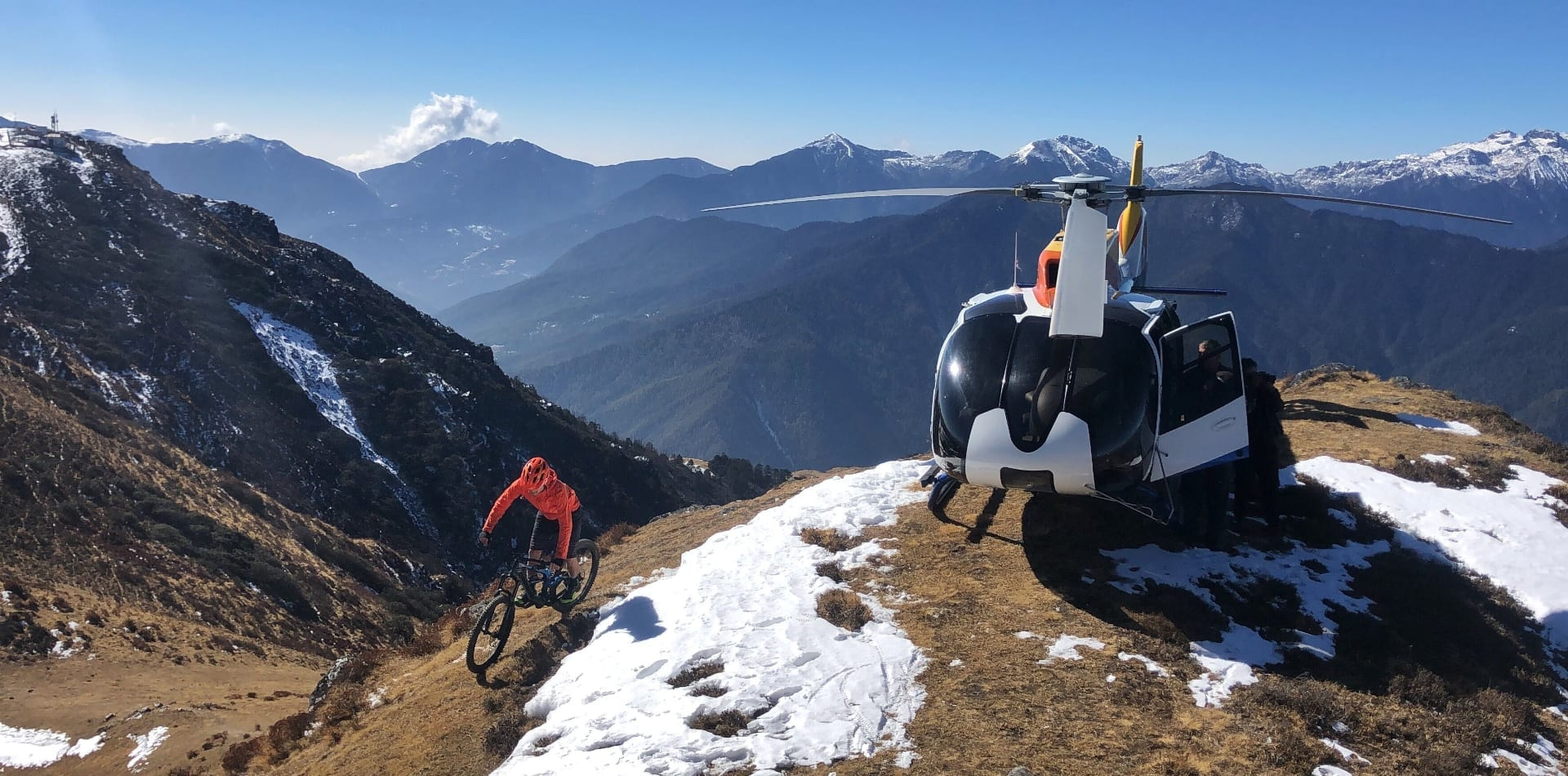 Heli-biking in Bhutan