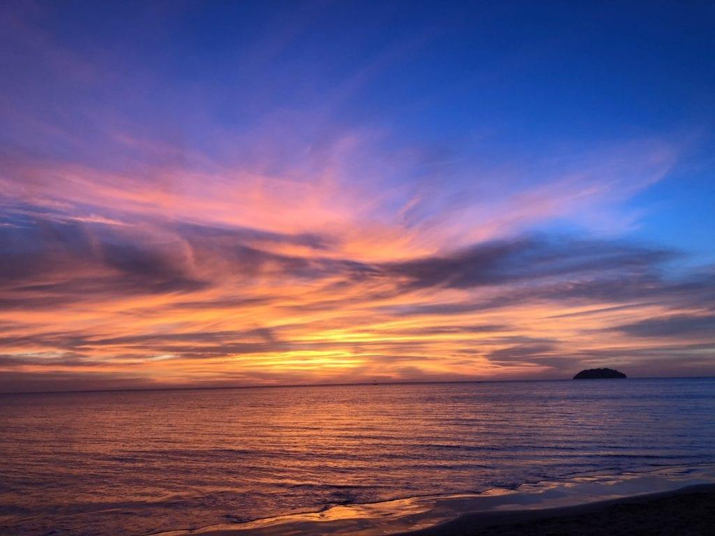 sunset over borneo beach
