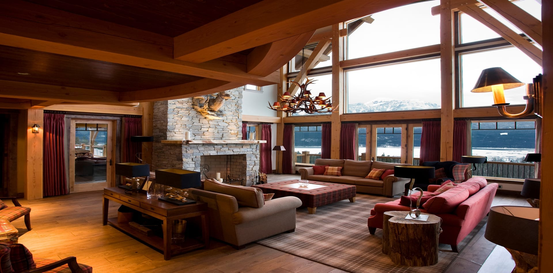 British Columbia Chalet Bighorn Living Room with Panoramic Views in Canada