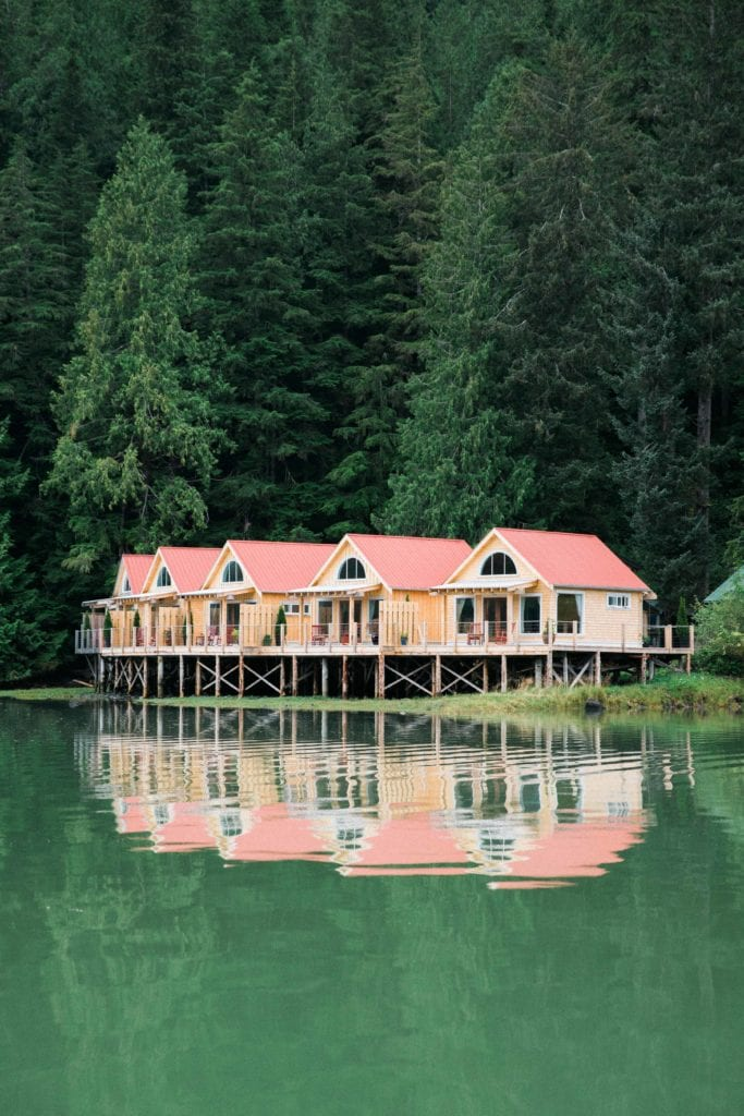Cabins over lake at Nimmo Bay Canada