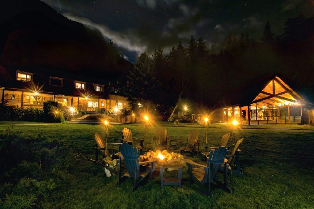 Canada Tweedsmuir Park Lodge fire pit at night