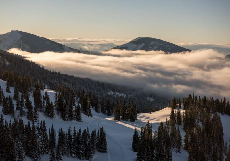 Beautiful mountainous landscape above the clouds