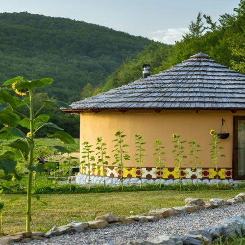 Linden Tree Yurt Exterior in Croatia