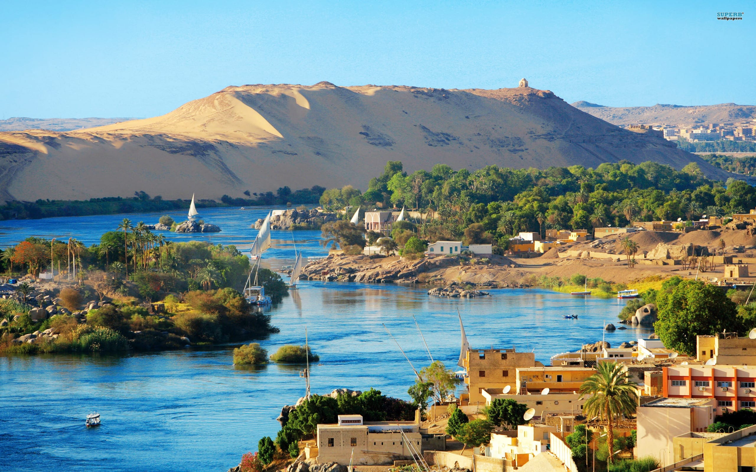 Aerial of the Nile in Egypt