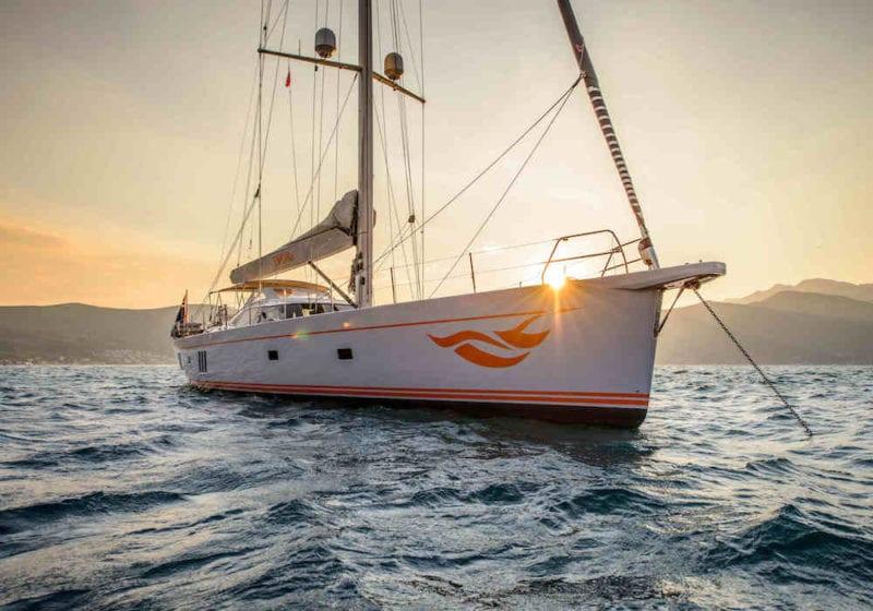 Firebird yacht at sunset