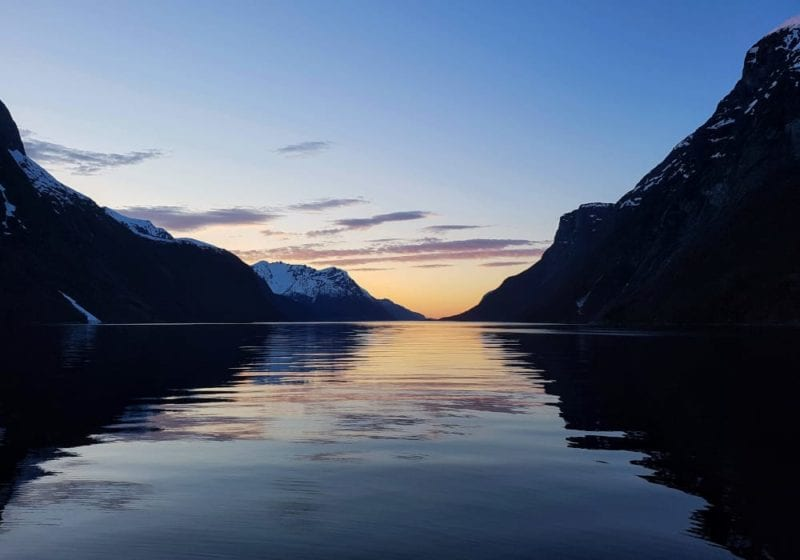 Sunset views at a Norwegian fjord