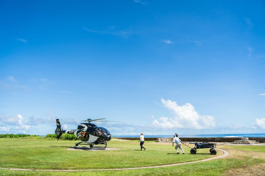 helicopter arrival fregate island